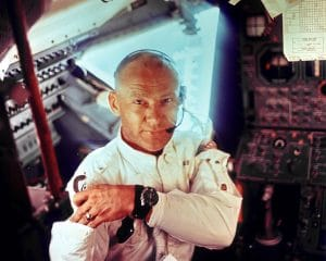 Buzz Aldrin inside Apollo 11 Lunar Module